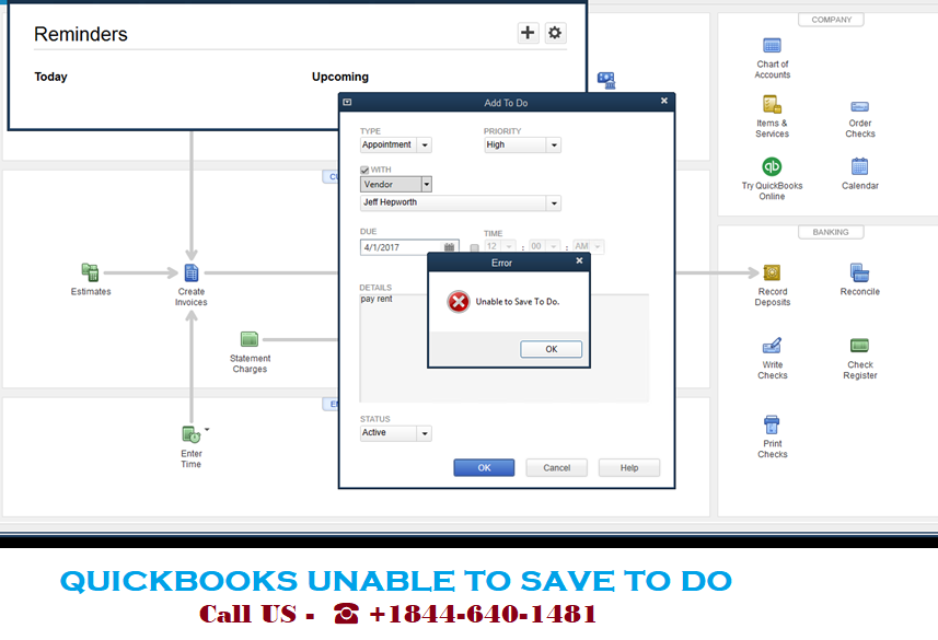 QUICKBOOKS UNABLE TO SAVE TO DO