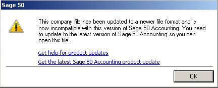 Sage 50 Update Company Data Error